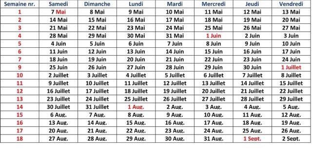 Verhuurtabel Frans 2016